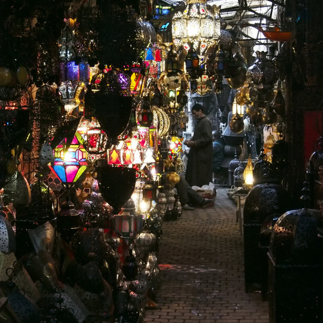 """Coloured lamps for sale in the souks of Marrakesh"" stock image"