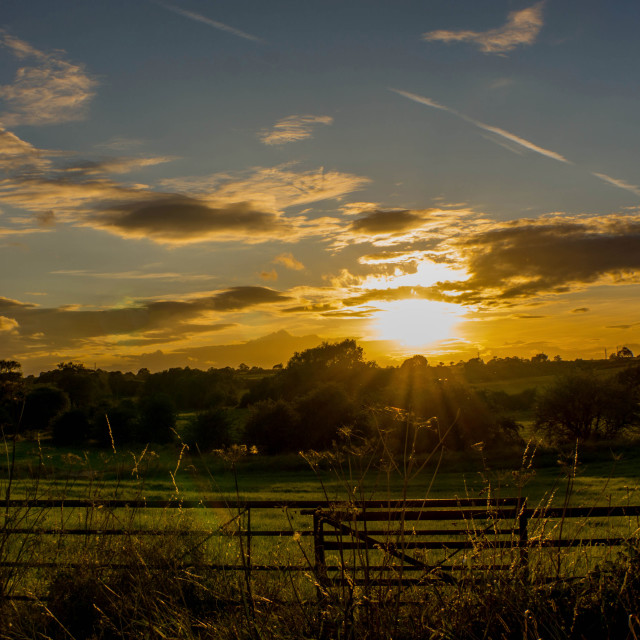 """Sunset over the fields"" stock image"