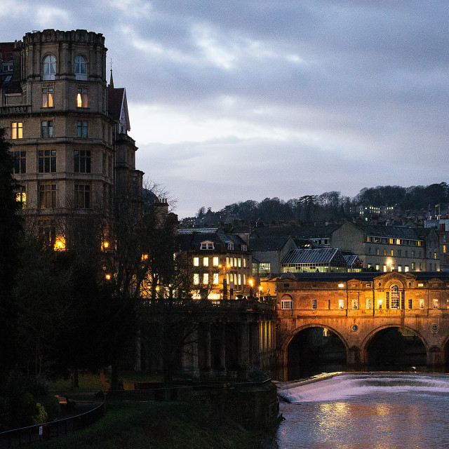 """Pulteney Bridge at Dusk, Bath"" stock image"