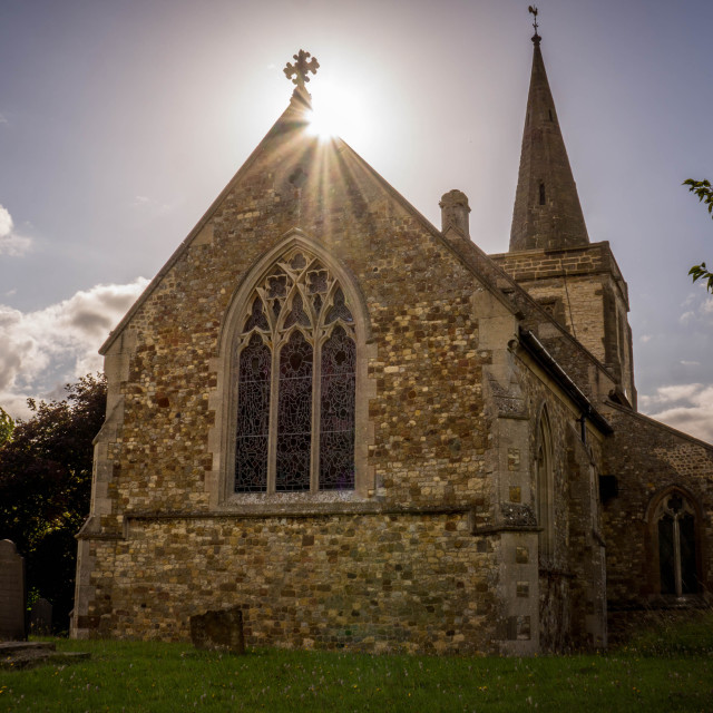"""Sun over the church"" stock image"