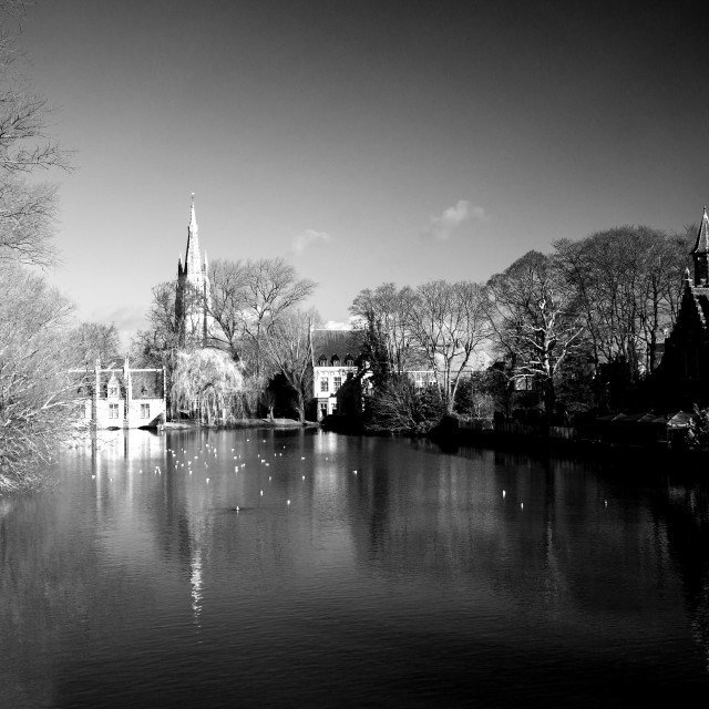"""""""Minnewater Park, Bruges (B+W)"""" stock image"""
