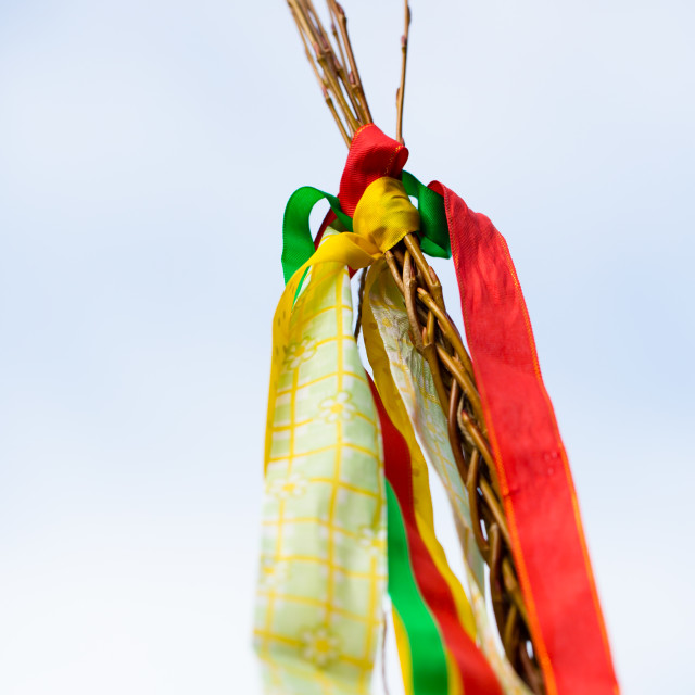 """A traditional Czech whip ir stick used for easter beating with colorful ribbons"" stock image"