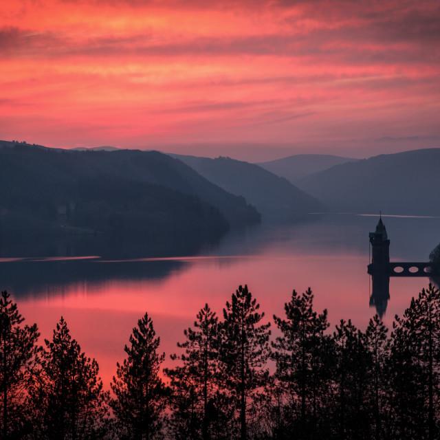 """Sunset at Lake Vyrnwy"" stock image"