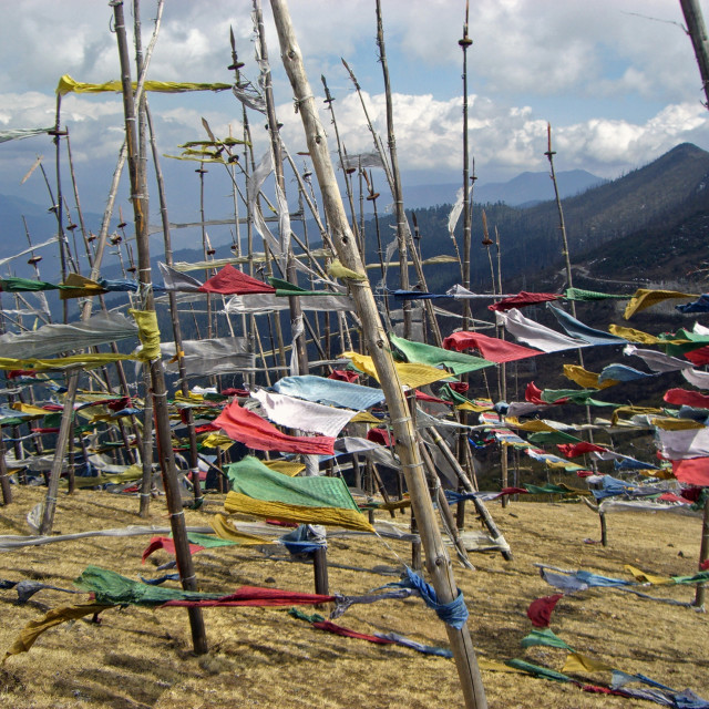 """Bhutanese prayer flags"" stock image"
