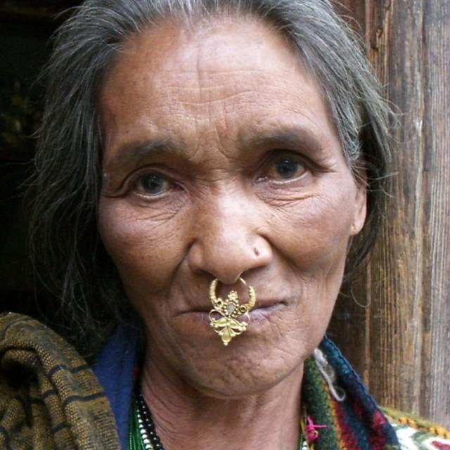 """Portrait of pensive Bhutanese woman"" stock image"