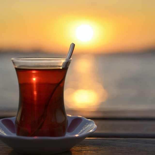 """""""Tea and sunset in Istanbul."""" stock image"""