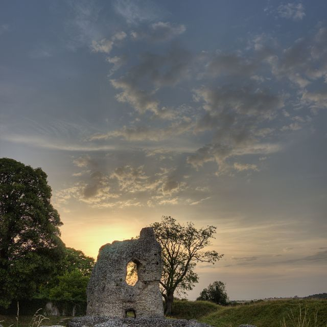 """Ludgershall Castle at Sunset"" stock image"