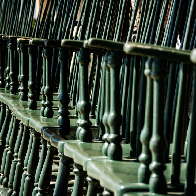 """Row of antique chairs"" stock image"