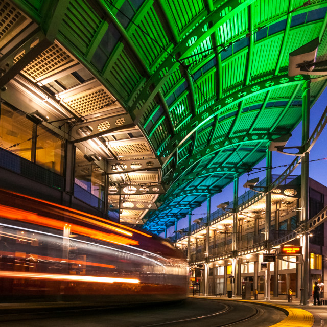 """Trolley Light Trails"" stock image"