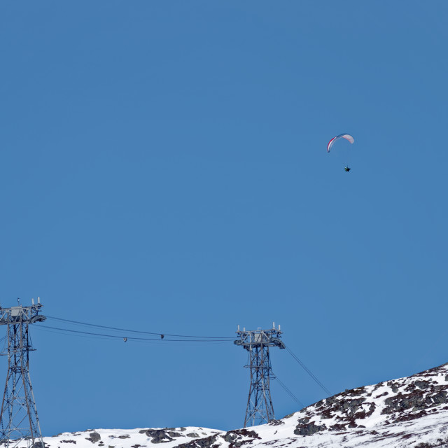 """""""Paragliding over mountain"""" stock image"""