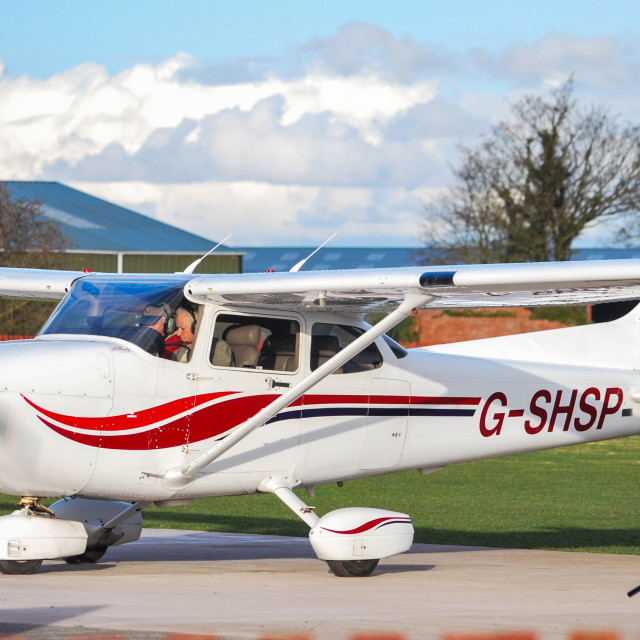 """Sunny Cessna 182 in Shropshire"" stock image"