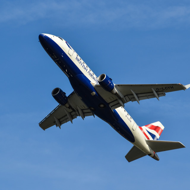 """British Airways powering to clear sky"" stock image"