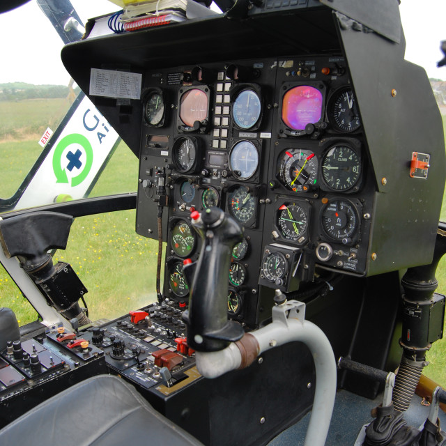 """Helicopter Controls and Cockpit"" stock image"