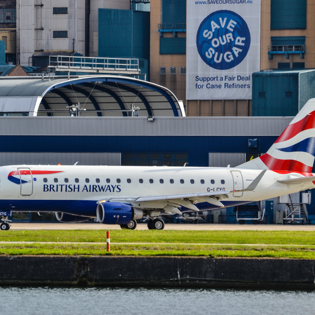 """British Airways Embrarer London City Airport"" stock image"