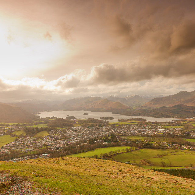 """Keswick from above"" stock image"