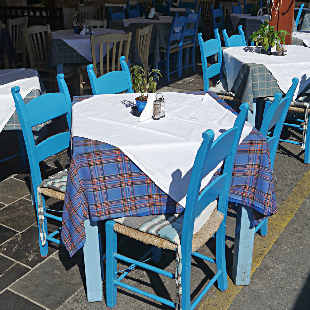 """Chairs, Chania"" stock image"