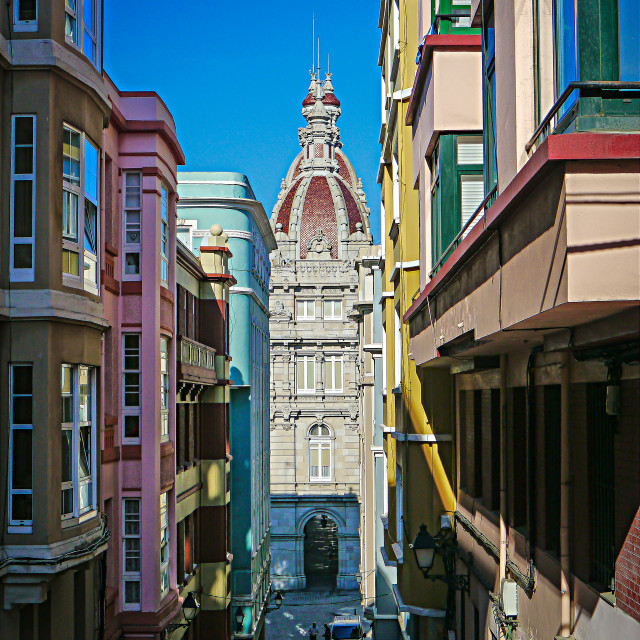 """Side street in La Coruna"" stock image"