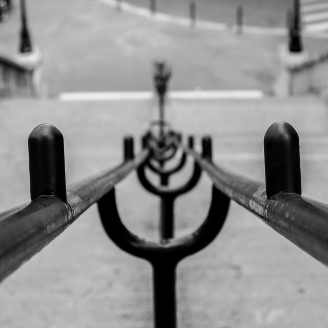 """""""Handrail into the distance"""" stock image"""