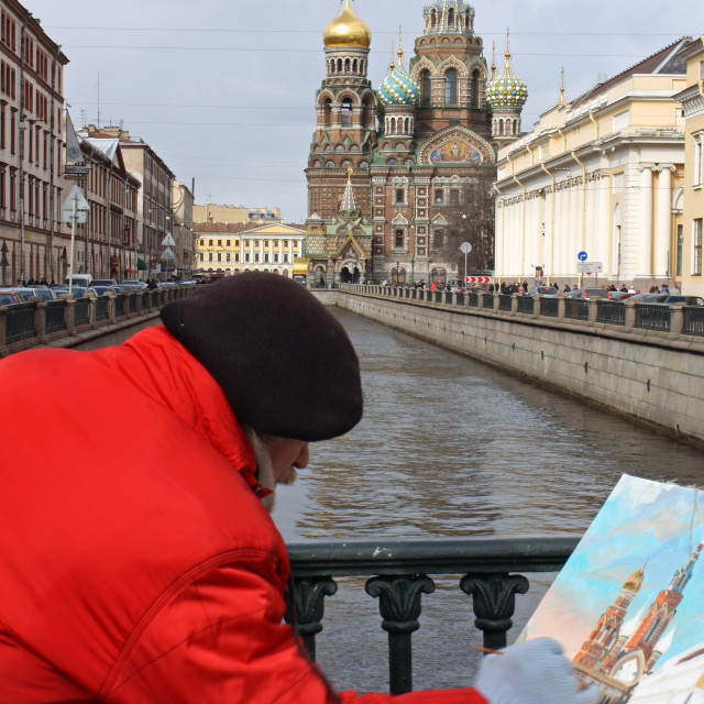 """Artist painting the Church of our Savior of Spilled Blood in St Petersburg Russia"" stock image"