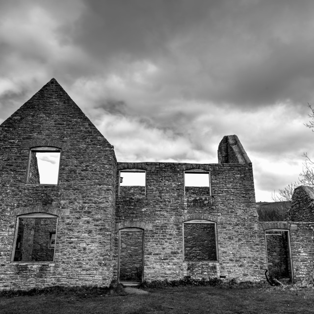"""Gardeners Cottage in Black & White - The Abandoned & Derelict Ghost Village - Tyneham, Dorset."" stock image"