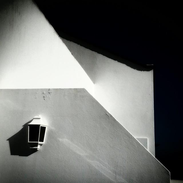 """White Balcony Walls with Polarised Sky"" stock image"