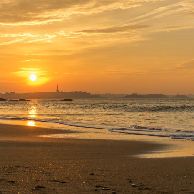 """Sunset on Saint-Malo"" stock image"