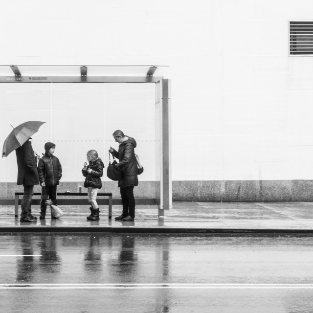 """""""Family waiting the bus"""" stock image"""