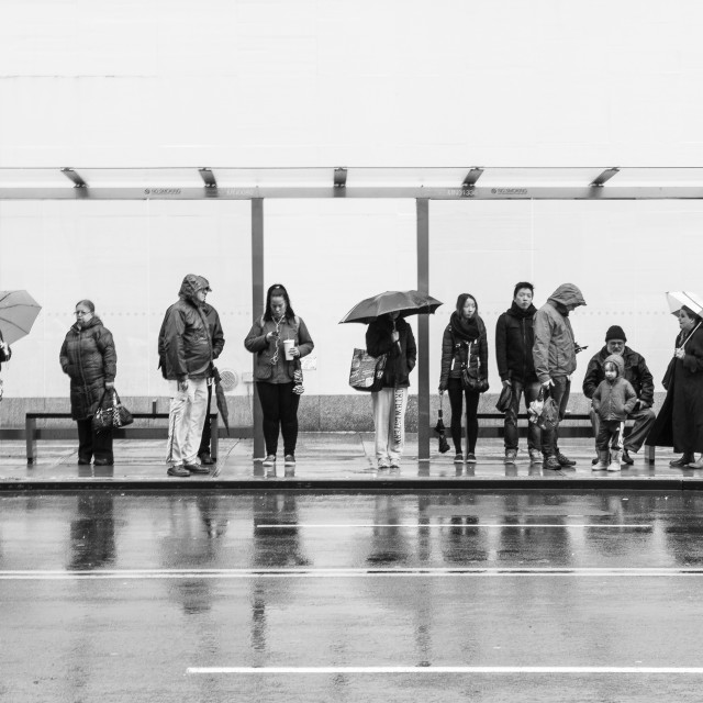 """""""People waiting the bus"""" stock image"""