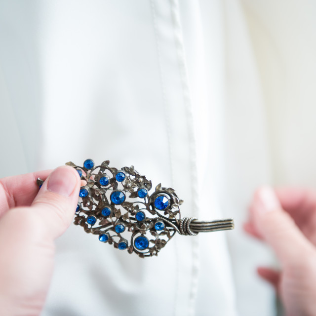 """""""Antique, old blue pin for wedding"""" stock image"""
