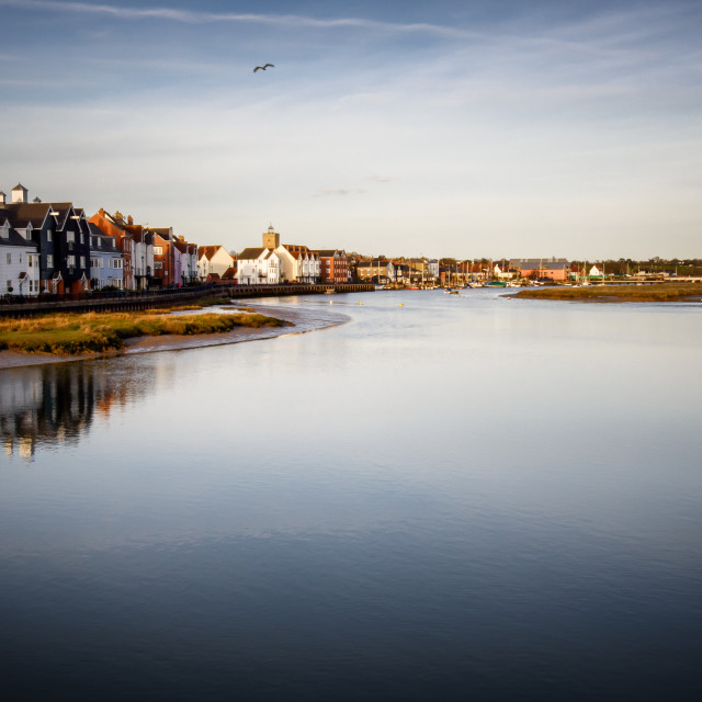 """""""Wivenhoe at High Tide Sunset"""" stock image"""