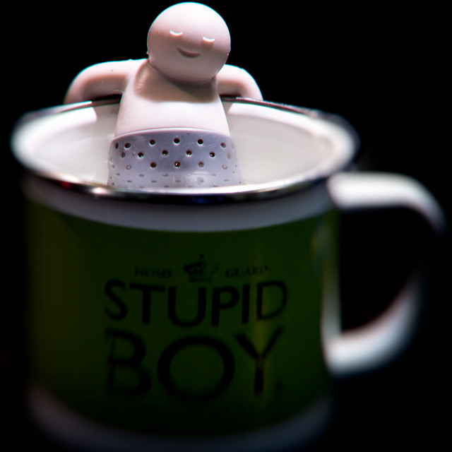 """""""Funny tea stainer man"""" stock image"""