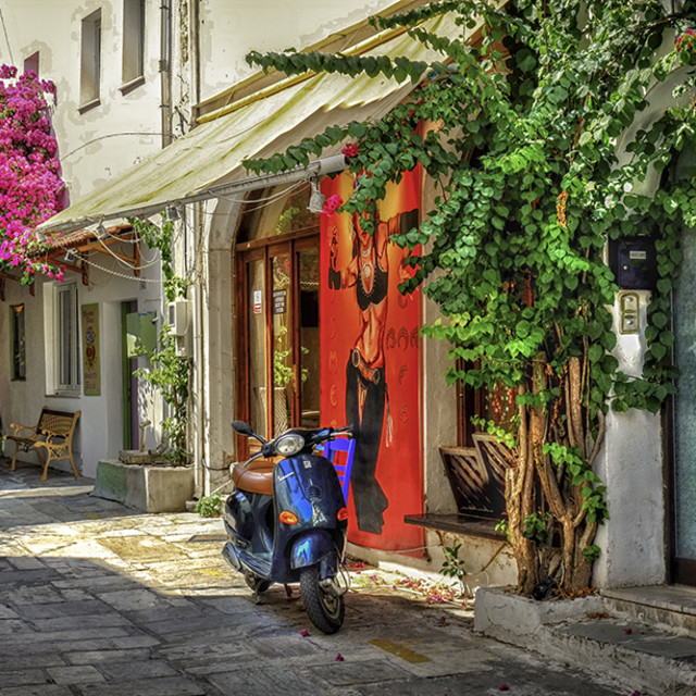 """Colourful Street in Kos Town"" stock image"