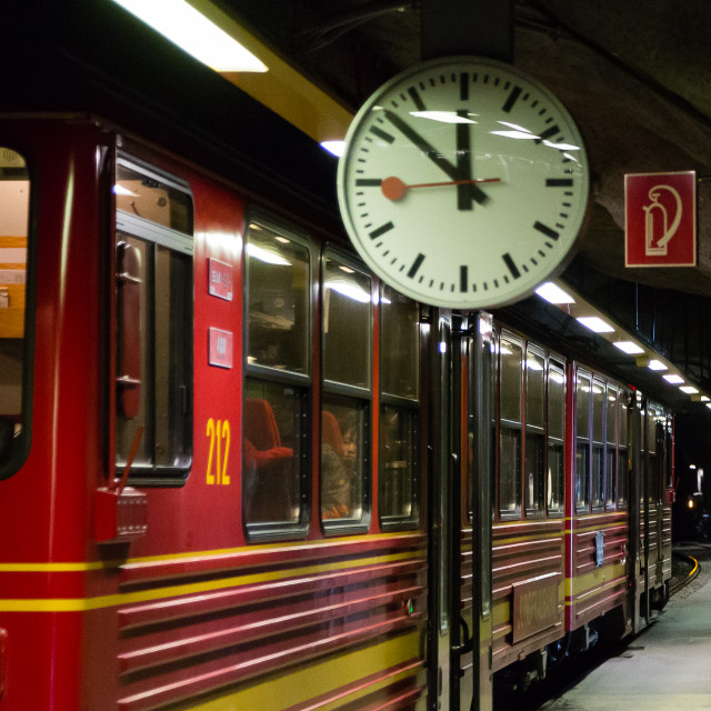 """""""Swiss Train to Jungfraujoch"""" stock image"""