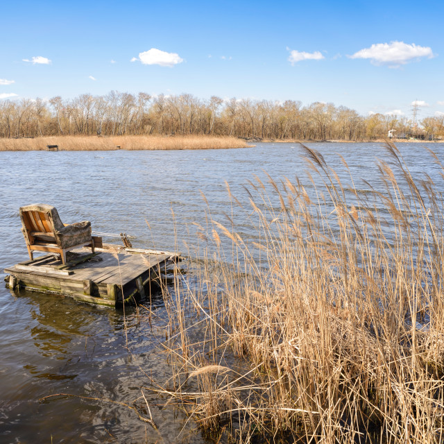 """Armchair on the Lake"" stock image"