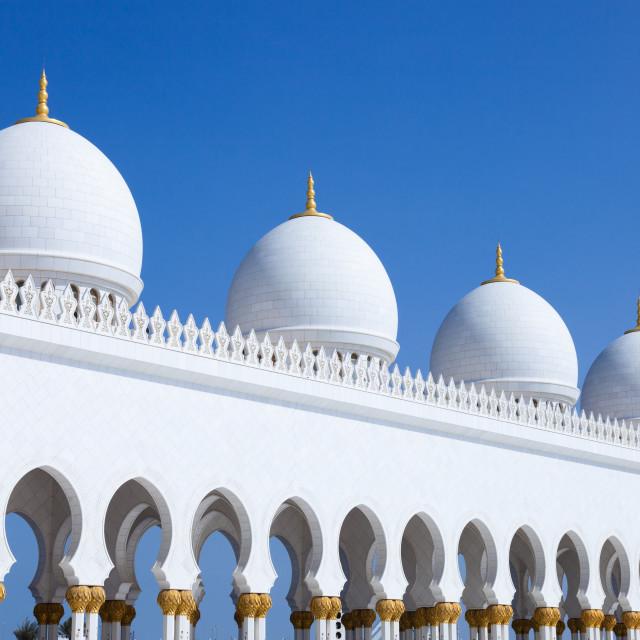 """Domes - Grand Mosque, Abu Dhabi"" stock image"