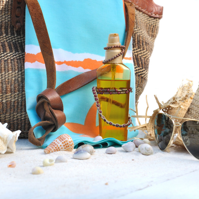 """beach bag and accessories"" stock image"