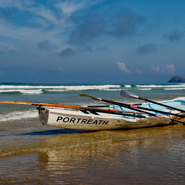 """Surf Boat on a Cornish Beach"" stock image"