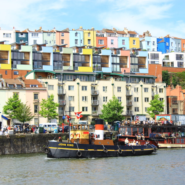 """The Harbourside and Coloured Houses of Bristol"" stock image"
