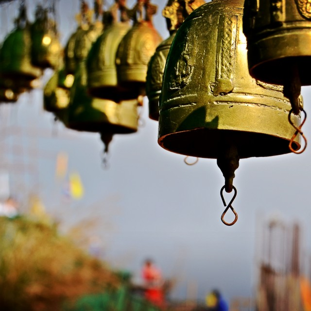 """Prayer Bells, Big Buddha, Phuket"" stock image"