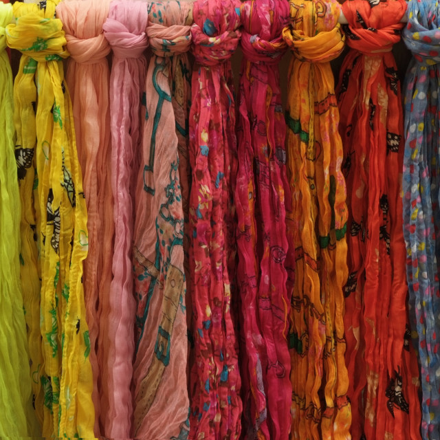 """Colourful Scarves"" stock image"