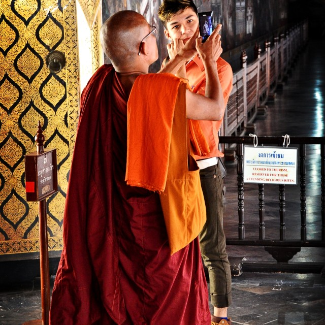 """Monk in Wat Traimit"" stock image"