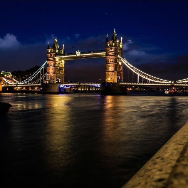 """Tower bridge by night"" stock image"