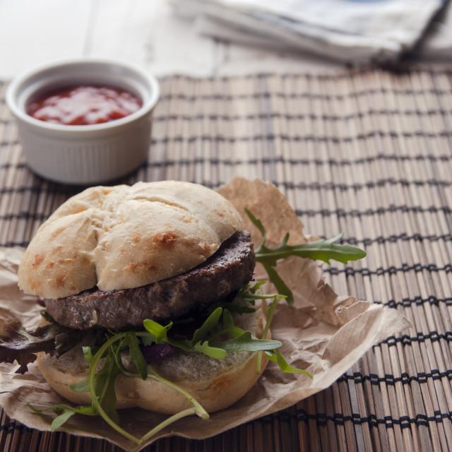 """Lamb Burger"" stock image"