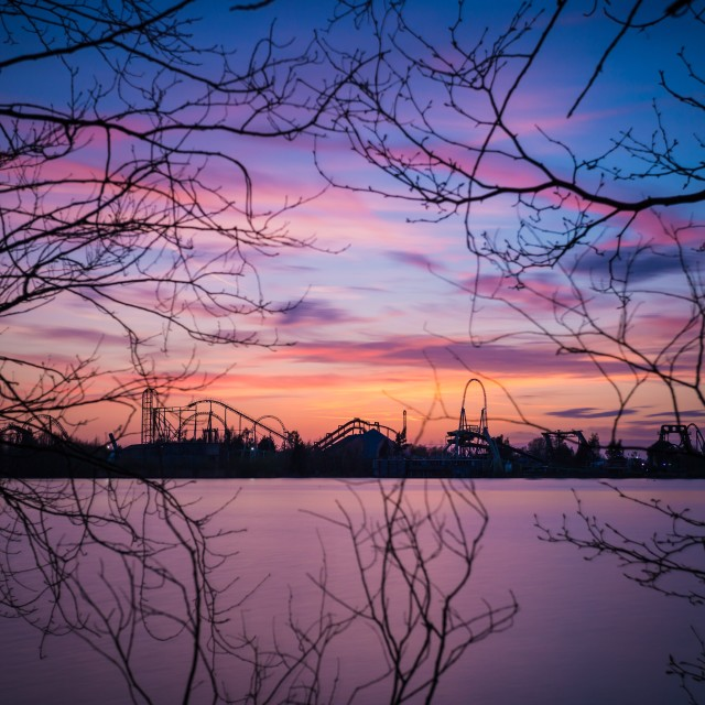 """Thorpe park sunset"" stock image"