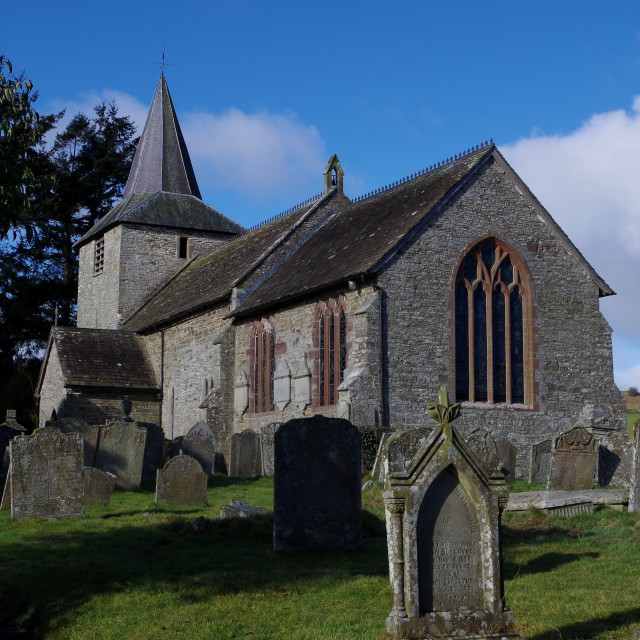 """Gladestry church"" stock image"