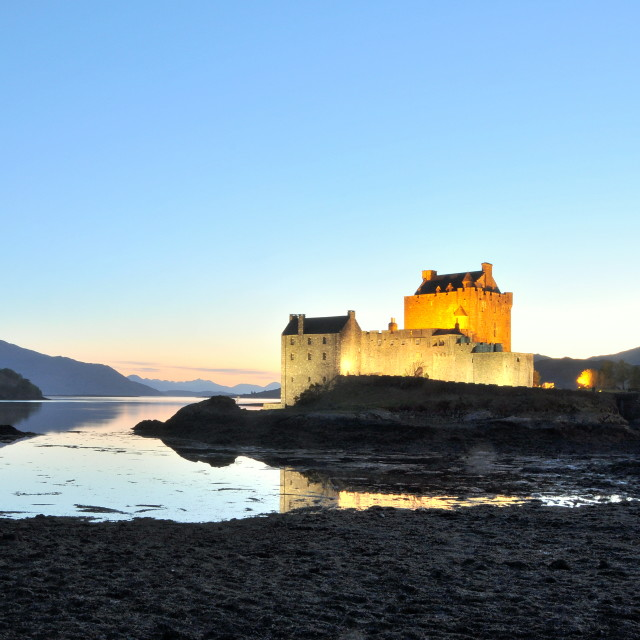 """Eilean Donan Castle at sunset"" stock image"
