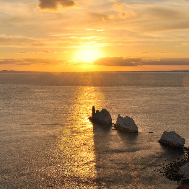 """Sunset over The Needles"" stock image"