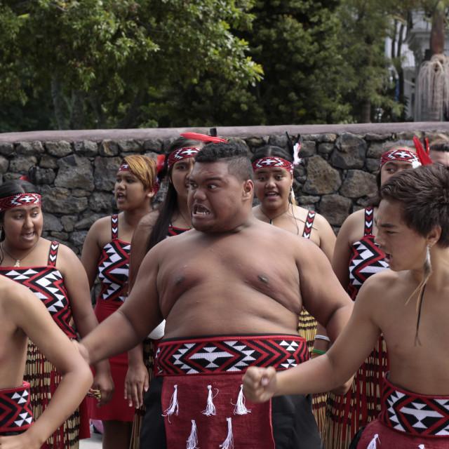 """Maori Youths Perform Haka ICC CWC 2015"" stock image"