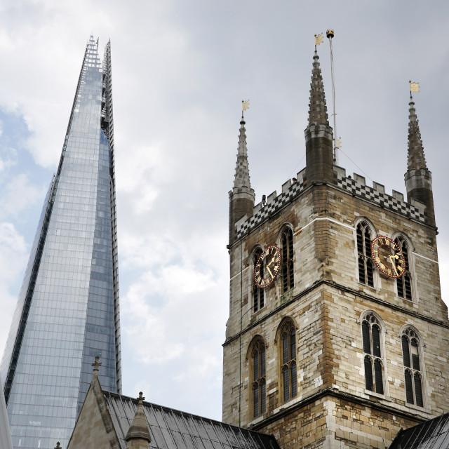 """Old Church, Modern skyscraper"" stock image"
