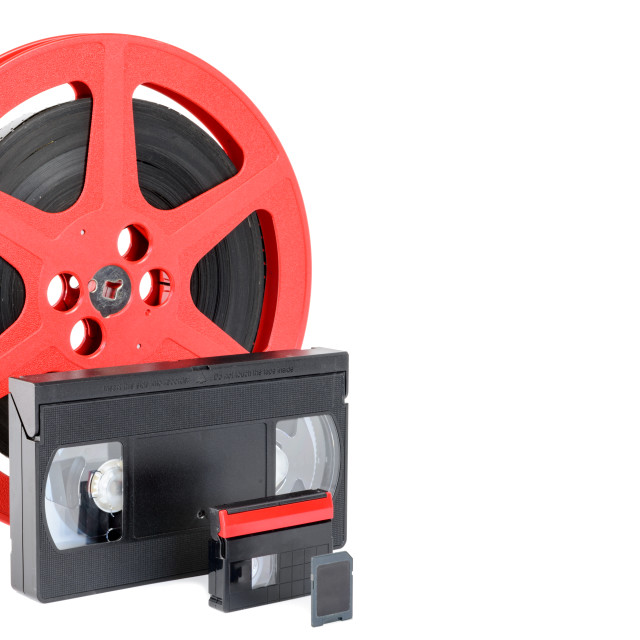 """old reel of film, video tape and memory card"" stock image"